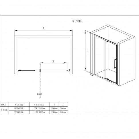Usa pivotanta pentru cabina dus, sticla, K-P13B, 100 x 190 cm