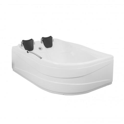 Cada baie asimetrica, varianta montaj pe stanga, Aisha, masca si suport incluse, acril, 150 x 110 cm