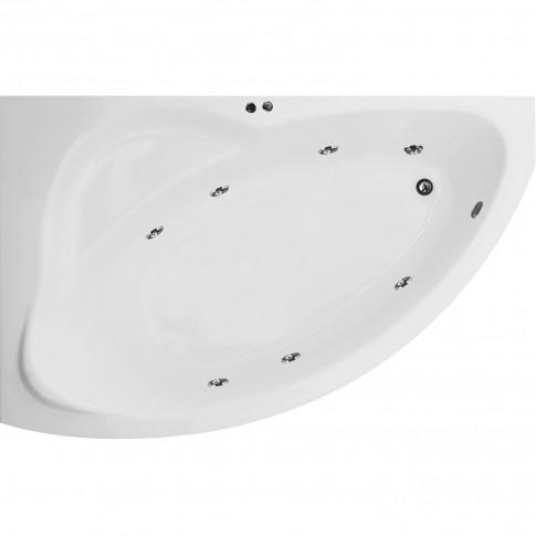 Cada baie cu hidromasaj asimetrica, pe colt, montaj stanga, Aquamarine Nicole, acril, 150 x 100 cm