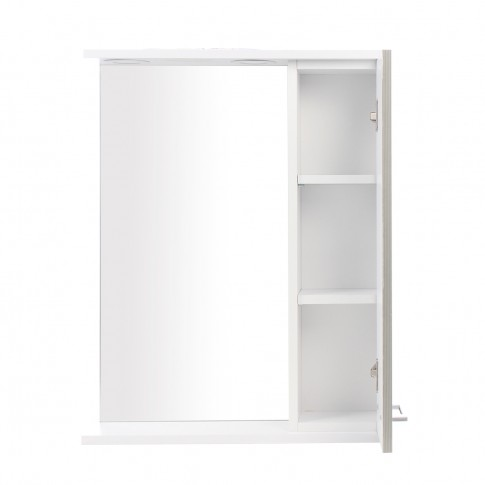 Dulap baie cu oglinda, iluminare si polita, 1 usa, dreapta, Neo, alb, 55 x 14 x 71 cm
