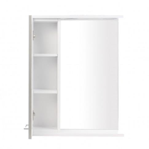 Dulap baie cu oglinda, iluminare si polita, 1 usa, stanga, Neo, alb, 55 x 14 x 71 cm