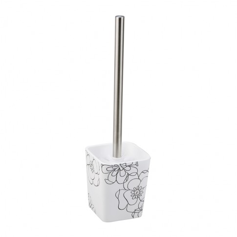 Perie WC Kadda Emotions BPO-0306E, polirasina, alb + negru, model floral, 9.8 x 9.8 x 36.8 cm