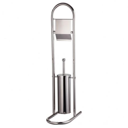 Perie WC cu suport pentru hartie igienica, Kadda BSP-0059, metal, 16.5 x 80.5 cm