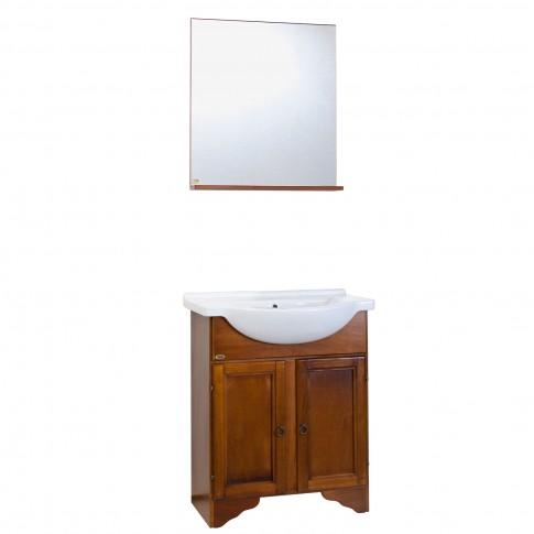 Masca baie + lavoar + oglinda Savini Due Cinzia, cu usi, finisaj nuc, 56 x 155.5 x 42.5 cm