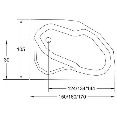 Cada baie cu hidromasaj, asimetrica, pe colt, montaj pe dreapta, Carina, masca inclusa, 160 x 105 cm