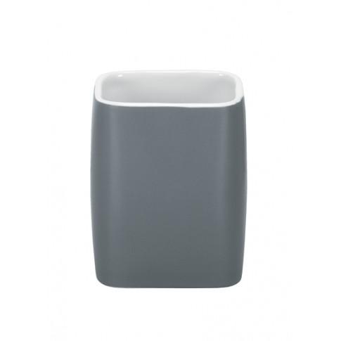 Pahar baie pentru igiena personala, Kleine Wolke Cubic 34069, ceramica, gri, 2.9 x 11.1 cm