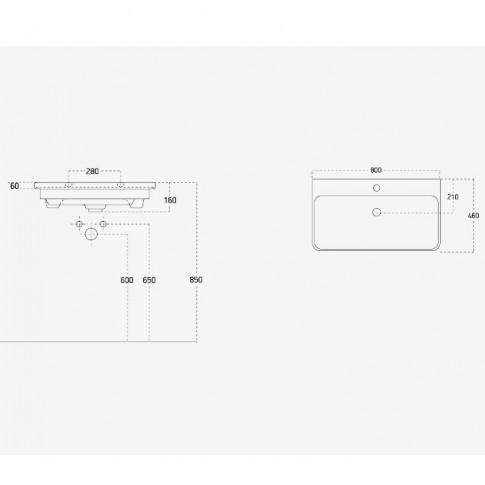 Lavoar Arthema Revo 0380R, alb, dreptunghiular, 80 cm