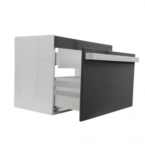 Masca baie pentru lavoar, Arthema Revo 80 381R - AN2, cu sertare, alb / antracit, montaj suspendat, 76 x 43.8 x 55 cm
