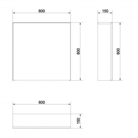 Dulap baie cu oglinda, 1 usa, Cersanit Colour Easy S571 - 026, alb, 60 x 15 x 60 cm