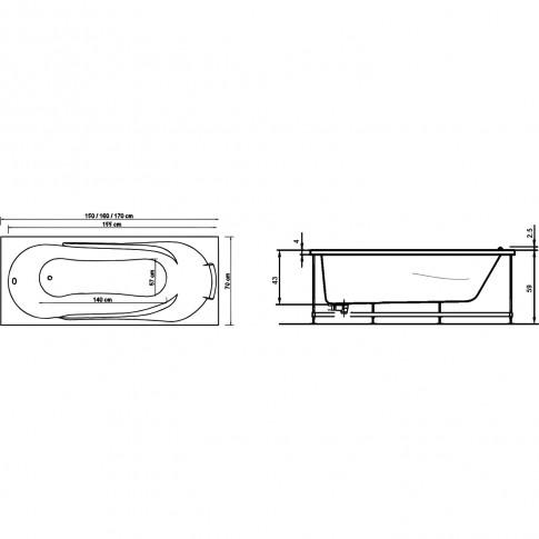 Cada baie cu hidromasaj rectangulara, Afrodita, masca inclusa, acril, 170 x 70 cm