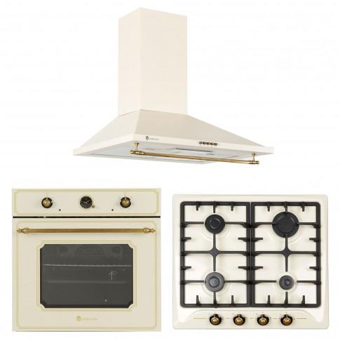 Set Studio Casa rustic plita incorporabila pe gaz + cuptor incorporabil electric + hota decorativa, 270 mc/h, latime 60 cm, bej