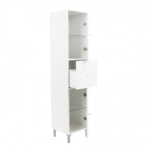 Dulap baie pe sol, 2 usi, cu sertar, Savini Due Basic, alb, deschidere dreapta, 148 x 31.5 cm