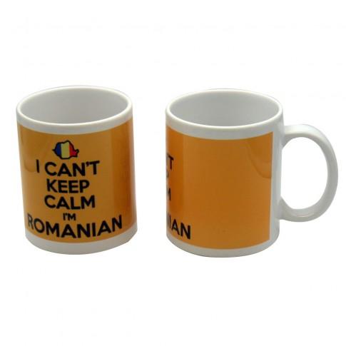 Cana cu mesaj Can't keep calm I'm Romanian, ceramica, multicolor, 250 ml