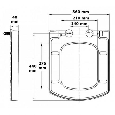 Capac WC din duroplast, Cersanit Easy K98-0089, alb, inchidere soft close, 360 x 445 mm
