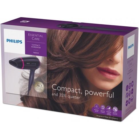 Uscator de par Philips BHD002/00, 1600 W, 3 viteze, 3 setari temperatura, functie aer rece, negru cu roz
