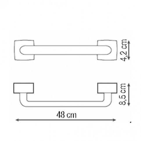 Suport prosop baie Iobagno Quandra AC1106, tip bara, 48 x 4.2 x 8.5 cm