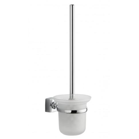 Perie WC Iobagno Quadra AC1114, suspendat, metal + sticla mata, 48 x 21 x 13.5 cm