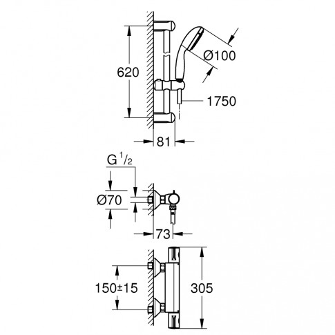 Set dus baterie termostatata + para + furtun + suport + bara, Grohe 34565, 2 functii, 1.75 m