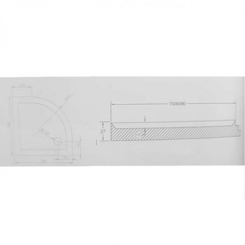 Cadita dus semirotunda West Ema, acril, 70 x 70 x 16 cm