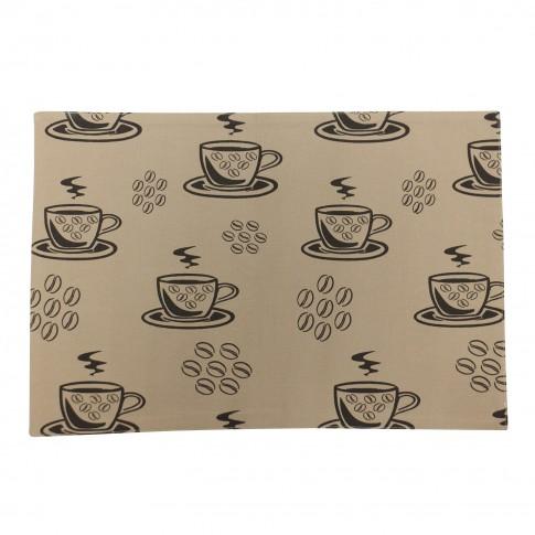 Suport de masa, pentru bucatarie, N-6956, model ceasca si boabe de cafea, bumbac, maro, 48 x 33 cm