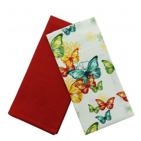 Prosop bucatarie N-7730, set 2 bucati, model fluturi si flori, bumbac, multicolor, 70 x 50 cm