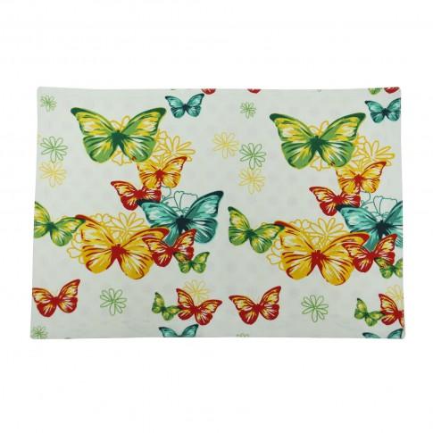 Suport de masa, pentru bucatarie, N-7730, model fluturi si flori, bumbac, multicolor, 48 x 33 cm