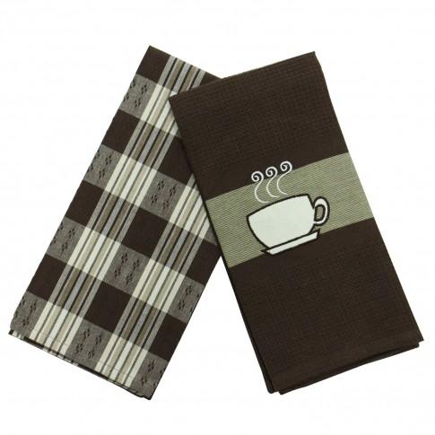 Prosop bucatarie N-7801 N-5816, set 2 bucati, model ceasca de cafea, bumbac, maro, 70 x 50 cm
