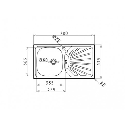 Chiuveta bucatarie inox anticalcar Pyramis Margarita 1B 1D cuva pe stanga 78 x 43.5 cm + baterie Accel slim