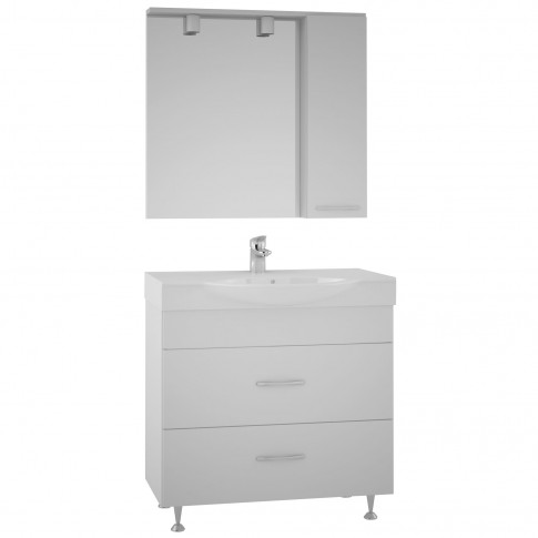Masca baie + lavoar Martplast Step 850, cu sertare, alb, 86 x 33.4 x 80 cm
