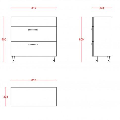 Masca baie + lavoar Martplast Step 850, cu sertare, alb, 81.2 x 33.4 x 80 cm