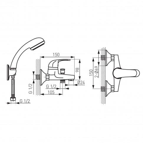 Baterie baie pentru cada / dus, Ferro Deco BDC11 + accesorii, montaj aplicat, monocomanda, finisaj cromat