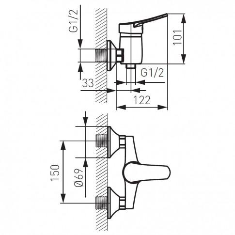 Baterie baie, pentru dus, Ferro Deco BDC77, monocomanda + accesorii, montaj aplicat, finisaj cromat