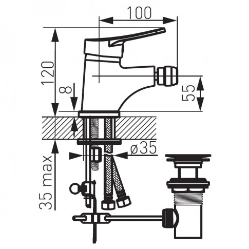 Baterie baie pentru bideu Ferro Deco BDC6, cu ventil, monocomanda, finisaj cromat