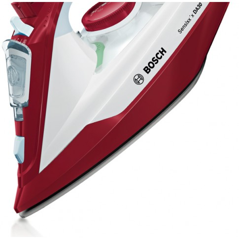 Fier de calcat Bosch TDA3024010, 2400 W, talpa ceramica Ceranium Glissee, 0.32 l, 150 g/min, sistem AdvancedSteam, alb cu rosu
