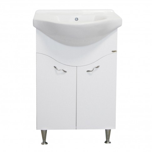 Masca baie + lavoar Savini Due Rimini 971, cu usi, alb, 56.5 x 42.5 x 87 cm