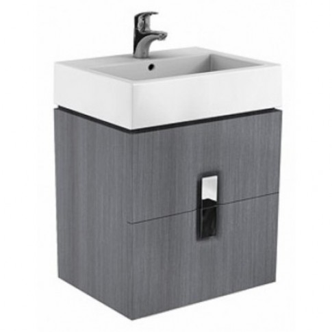 Masca baie pentru lavoar, Kolo Twins 89493 N, cu sertare, gri argintiu, montaj suspendat, 60 x 46 x 57 cm