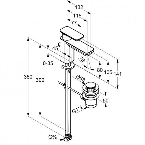 Baterie baie pentru lavoar, Kludi E2 490230575, montaj stativ, monocomanda, finisaj cromat