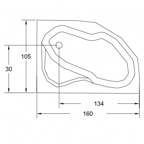 Cada baie asimetrica, varianta montaj pe dreapta, Carina, masca si suport incluse, acril, 160 x 105 cm
