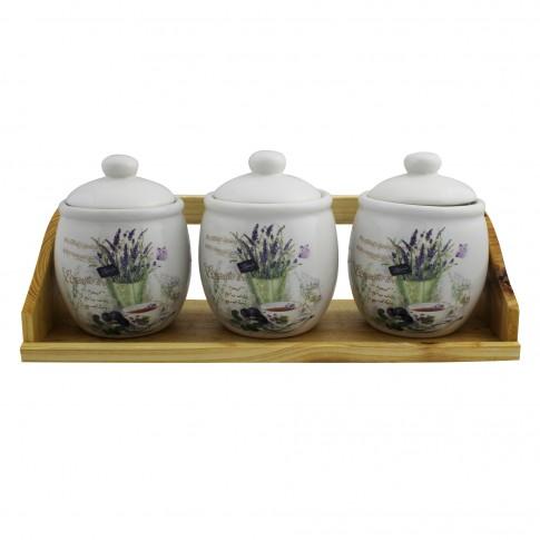 Recipiente condimente + suport, Lavanda Herbal, ceramica, albe, 4 buc