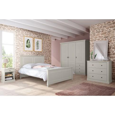 Pat dormitor Clemence, matrimonial, gri deschis, 140 x 190 cm, 2C