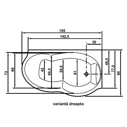 Cada baie cu hidromasaj, asimetrica, pe colt, montaj pe dreapta, Ariana, masca inclusa, 155 x 90 cm