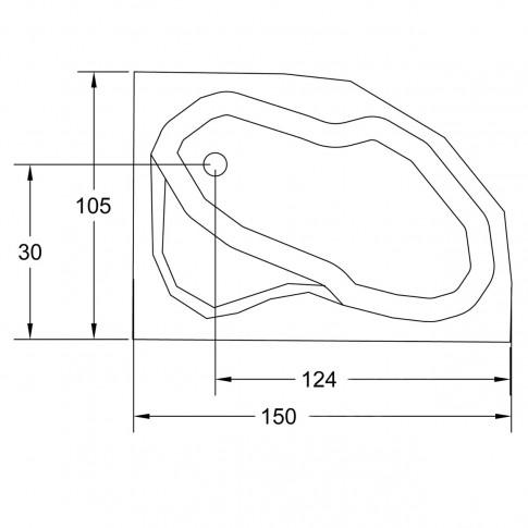 Cada baie asimetrica, varianta montaj pe dreapta, Carina, masca si suport incluse, acril, 150 x 105 cm