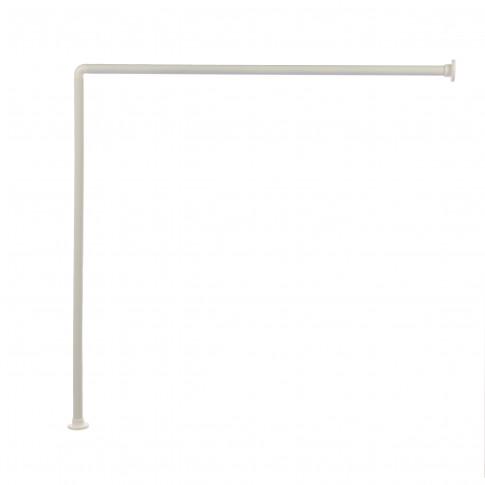 Bara perdea dus, metal, alb, inele incluse, 2248, 90 x 90 cm