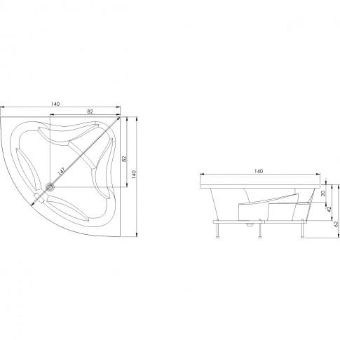 Cada baie simetrica pe colt, Michelle, masca si suport incluse, 140 x 140 cm