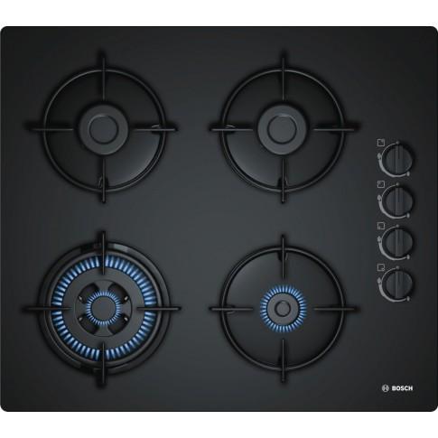 Plita pe gaz incorporabila Bosch POH6B6B10, 4 arzatoare, arzator Wok, putere 7.7 kW, aprindere electrica, dispozitiv siguranta arzatoare, duze GPL