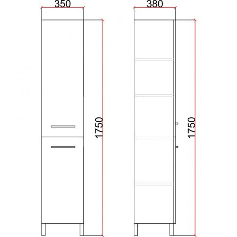 Dulap baie pe sol, 2 usi, Martplast Titan, alb, deschidere pe dreapta, 175 x 35 cm