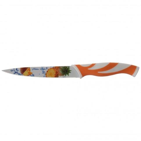 Cutit cu teaca + maner silicon, D96, alb + portocaliu, lungime 22 cm