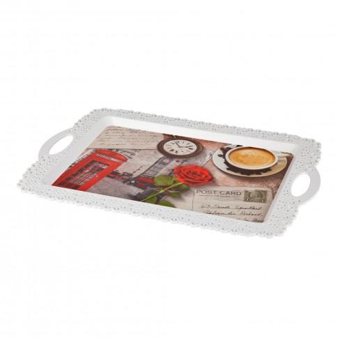 Tava dreptunghiulara pentru servire, din plastic, Inaplast 86003, diverse culori, 34 x 32 cm