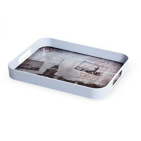 Tava dreptunghiulara pentru servire,  din plastic, Inaplast 86004, diverse culori, 32 x 25 cm