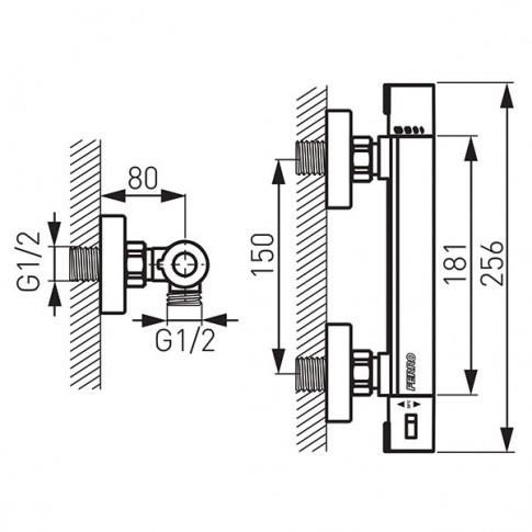 Baterie baie, pentru dus, Ferro Trinity Safe Tocuh TRM7, monocomanda, cu termostat, montaj aplicat, finisaj cromat